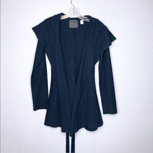 Guinevere Navy Wool Open Cardigan